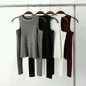 moda invierno jersey calentito sin hombros